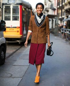 tamu mcpherson burgundy skirt street style