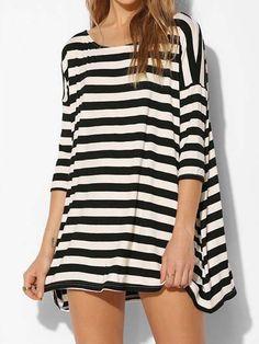 Black White Batwing Long Sleeve Striped T-Shirt