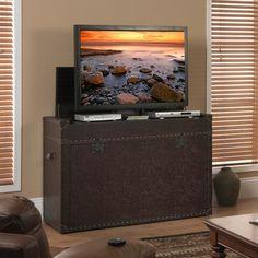 touchstone ellis trunk tv lift cabinet via sharper image online