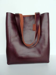 Brown Leather Tote Bag Leather Bag red brown by leathertotes