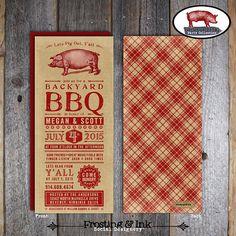 BBQ Shower Invitation  Backyard BBQ Shower by frostingandink