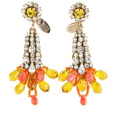 RADA Yellow Rhinestone Earrings
