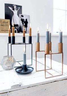 Light those winter blues up! Contemporary and sleek, you could build a sick table runner out of these holders by Nu bij Leen Bakker: de - 101 Woonideeën Copper Interior, Home Interior, Interior Styling, Interior And Exterior, Interior Decorating, Living Room Inspiration, Interior Inspiration, By Lassen, Ideas Hogar
