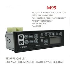 Unho Excavator Radio Heavy Duty Loader Radio,2mA Standby current,12V/14V Universal,Two-Way AM/FM Radio With MP3 Player Car Vehicle Radio for Excavator, Tractor, Truck, Kart, Yacht,Loader,Grader,Earth Moving Machine. All world frequency in unit; Aux-in. PASS AUTHORITY TESEING: Certified thunder-proof, aseismic and waterproof, also have a much higher resistance to vibration than most of other radios. 12V/24V automatically interchangeable by radio. AM/FM brand but without CD due to dust...