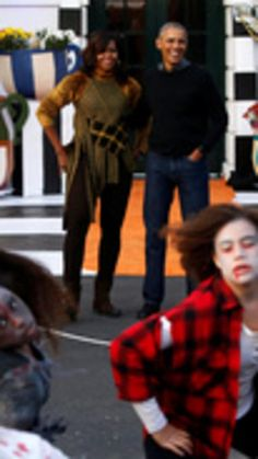 U.S. President Barack Obama and first lady Michelle Obama react to a flash mob of dancers portraying the zombies from Michael Jackson's Thriller video, after they finishing giving out Halloween treats to children from the South Portico of the White House in Washington, U.S. October 31, 2016.(REUTERS/Jonathan Ernst) via @AOL_Lifestyle Read more…