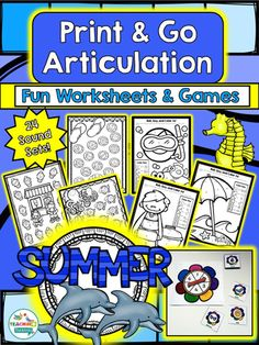 Quick & Easy Articulation Worksheets & Games for Summer! Speech & Language Activities by TeachingTalking.com