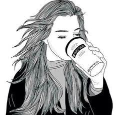 Imagen de girl, drawing, and art Tumblr Girl Drawing, Tumblr Drawings, Tumblr Art, Tumblr Girls, Style Tumblr, Drawing Girls, Outline Drawings, Cute Drawings, Drawing Sketches