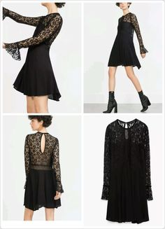 2807dd43 49.99 | NWT zara lace dress open at back black size M ref:4886