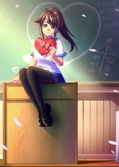 Yandere-chan by bakki on DeviantArt Male Yandere, Animes Yandere, Yandere Girl, Yandere Anime, Valentines Anime, Valentine Gifts, Sword Art Online, Images Kawaii, Ayano X Budo