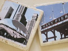 Chicago Sight Seeing Coasters  Navy Pier and the by MimmStudio