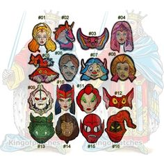 She-ra Princess of Power Embroidered Patches MOTU Masters of the Universe He-man Hordal Kowl Bow Catra Scorpia Mantenna Leech Grizzlor Horse by Kingofpatches on Etsy https://www.etsy.com/listing/554824035/she-ra-princess-of-power-embroidered