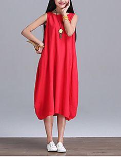 Women's Street chic Solid Swing Dress,Round Neck Midi Linen