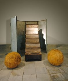 "Louise Bourgeois NO EXIT, 1989Wood, painted metal and rubber821/2 x 84 x 96""; 209.5 x 213.3 x 243.8cm."