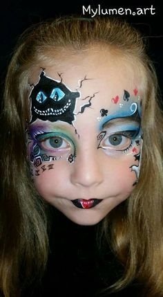 Cheshire Cat Alice in Wonderland Mehr Halloween Face Paint Designs, Face Painting Designs, Halloween Skull, Halloween Make Up, Halloween Face Makeup, Adult Face Painting, Painting For Kids, Body Painting, Alice In Wonderland Makeup