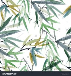Watercolor and ink illustration of bamboo in style sumi-e, u-sin. Watercolor Trees, Watercolor And Ink, Bamboo Leaves, Plant Leaves, Painted Bamboo, Traditional Paintings, Ink Illustrations, Tropical Plants, Painting Prints