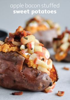 Load on the flavor for family dinner with apple bacon stuffed sweet potatoes.