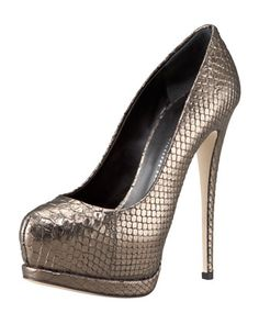 Snake-Print Double-Platform Pump by Giuseppe #Zanotti at Bergdorf Goodman.  $695