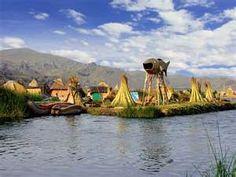 Lake Titicaca, Peru, Uros Floating Island. Highest navigable lake in the world.