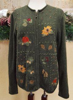 cf5885c118 Croft Barrow Sunflower Pumpkin Zip Front Sweater M Multi Cute Party Fun  Jeans