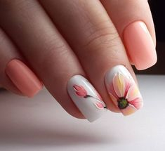 Summery nail design in apricot with flowers. #Summer #Nail design # Fingernag ...  #apricot #design #fingernag #flowers #summer #summery Flower Nail Designs, Nail Designs Spring, Cool Nail Designs, Cute Spring Nails, Spring Nail Art, Nail Art Disney, Special Nails, Floral Nail Art, Prego