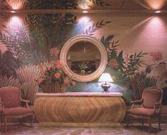vaporwave interior love this pink hotel lounge. 80s Interior Design, 1980s Interior, Interior Exterior, Interior Decorating, Aesthetic Rooms, Retro Home, Retro Futurism, Dream Decor, Cool Rooms