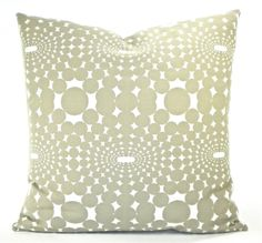 """Contemporary Annie Selke """"Optic"""" Decorator Pillow Cover - Taupe and White - To Cover 20""""x20"""" Pillow Form. $28.00, via Etsy."""