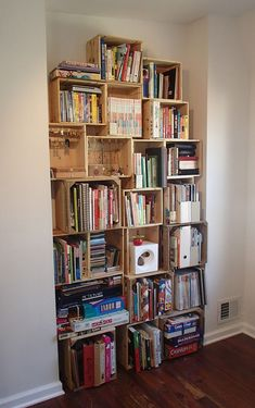 DIY Bookshelf from Wooden Wine Crates >> http://blog.diynetwork.com/maderemade/how-to/create-an-easy-bookshelf-from-wooden-wine-crates/?soc=pinterest