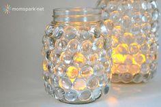 DIY: Easy Mason Jar Luminaries - make these solar light lights with glass beads, a mason jar and battery-operated tea lights!