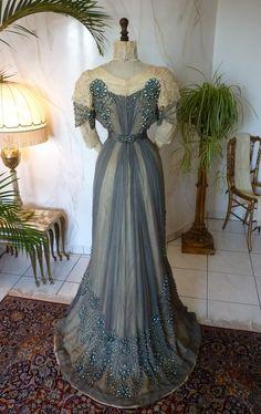 Grey Silk Chiffon Reception Gown, ca. 1909 Antique & vintage historical fashion clothing at Ruby Lane. www.rubylane.com @rubylaneinc