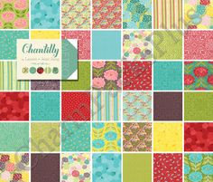 New from Moda Fabrics! Moda CHANTILLY Charm Pack - Five Inch Quilt Fabric Squares by charmpacks, $8.50