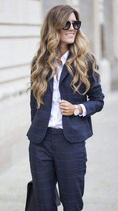 Keep your 9 to 5 look classic in our windowpane suit. Pair this stylish combo with a crisp white button like @brennamari | Banana Republic