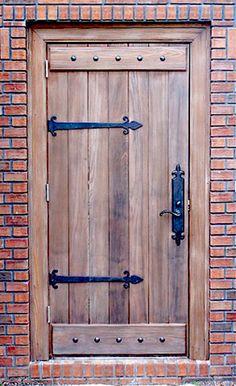 Rustic wood door style.