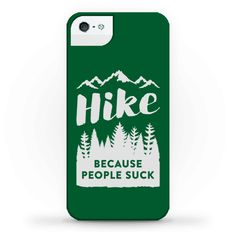"""Hike Because People Suck - We all can get a little peopled out from time to time, and let's face it sometimes people suck. Hike the social anxiety away with this nature lover design featuring the text """"Hike Because People Suck"""" with mountain and tree illustrations! Perfect for avoiding people, hiking, camping, gifts for hikers, road trips, hiking trip, nature lover, being antisocial and being in nature because people suck."""