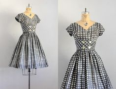 vintage 1950s dress   50s check dress   1950s by PickledVintage, $124.00