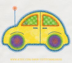 Cute Car 2 machine embroidery design appliques.  6 designs in the set. Compatible with the Accuquilt GO!(TM) Cute Car die (55354) or can be cut by hand using the templates provided.