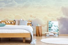 Sky and Clouds Blue Pink Coral Sunset Ombre Wallpaper Peel and Stick / Self Adhesive Wall Mural Sky10