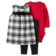 Baby Girls' 3 Piece Check Jumper Set Black/Red - Just One You™Made by Carter's® : Target