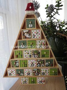 Wooden Advent Calendar shaped like a Christmas Tree.