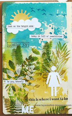 Layers of ink - Plant Journal Page by Anna-Karin. Made for Simon Says Stamp Monday Challenge, using stamps by Hero Arts, Sizzix dies and Ranger inks.