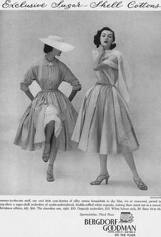 Timelessly lovely early 1950s shirtwaist dresses. Look at those sleeves!