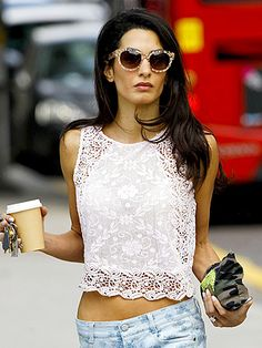 Not-quite-crochet white crop tops are everywhere! Here's Amal Alamuddin (aka the future Mrs. George Clooney) in London (June 2014)