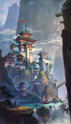 ArtStation-Hirose Hall, L Yidiu - Concept Art - Visual Development - Game Art Fantasy City, Fantasy Castle, Fantasy Places, Fantasy World, Fantasy Art Landscapes, Fantasy Landscape, Landscape Art, Landscape Concept, Mountain Landscape