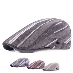 b04a8bedf54 Mens Women Linen Striped Beret Hat Casual Travel Sunshade Forward Caps  Gorras Planas Boina is hot sale on Newchic.