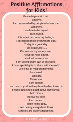 Positive affirmations for kids!