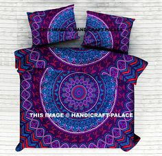 """Item -  1 PC Mandala DuvetCoverWith 2 PC Pillow Cover Material- 100% Cotton Fabric Prints - Hand Screen Printed Size- Duvet Cover :- 92"""" X 82"""" Inch ( 235 X 205 CM )         Pillow Cover :- 18"""" X 28"""" Inch ( 46 X 71 Cm ) Feature - Reversible , Loops Closure"""