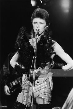 David Bowie performing in his 'Angel of Death' costume at a live recording for a Midnight Special TV show made at The Marquee Club in London to a specially invited audience of Bowie fanclub members. 20th October 1973.