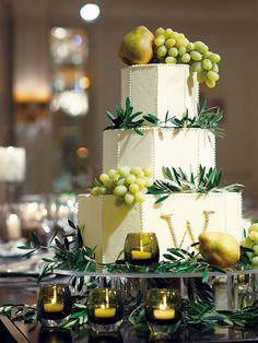 an octagonal wedding cake ? with grapes. Elegant Desserts, Bread Cake, Cake Images, Beautiful Wedding Cakes, Sweet Cakes, Wedding Images, Cake Decorating For Beginners, Amazing Cakes, Chocolate