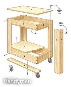 Figure A shows an exploded view of the rolling tool box cart.