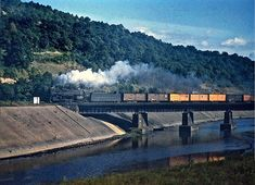 Bridge from the Main Line to the Sang Hollow Extension near SG Tower west of Johnstown in a J-l Class headed east leading a block of reefer cars. Photo by Robert Wanner. Johnstown Pennsylvania, Pennsylvania Railroad, Trains, Diesel, Tower, Roads, Bridge, Photos, Outdoor