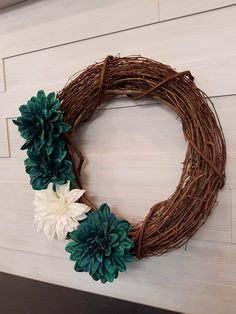 Grapevine Wreath with Flowers . Homemade Wreaths, Front Door Decor, Grapevine Wreath, Grape Vines, Teal, Spring, Flowers, Handmade, Hand Made
